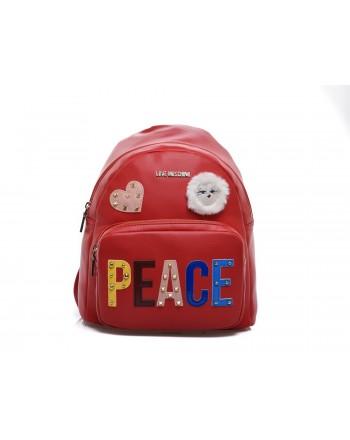 LOVE MOSCHINO - Zaino con Patch PEACE - Rosso