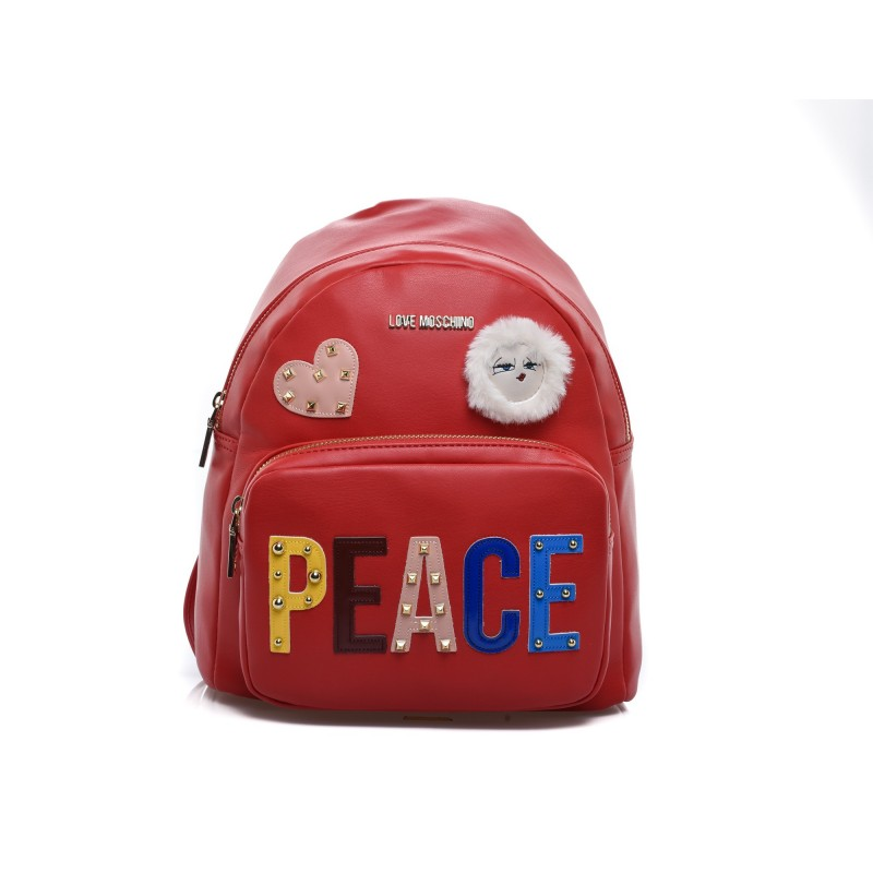 LOVE MOSCHINO - PEACE Patch Backpack - Red