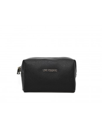LOVE MOSCHINO -LOVE MOSCHINO - Ecoleather Necessaire Purse -  Black