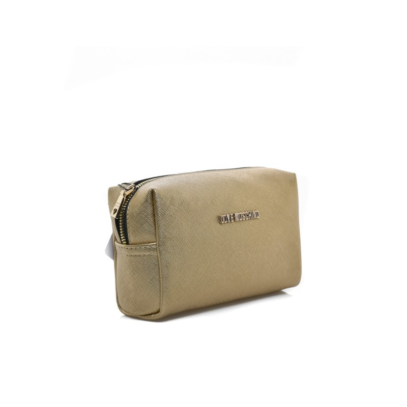 LOVE MOSCHINO - Ecoleather Necessaire Purse - Gold