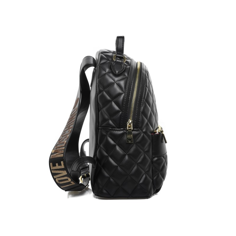 LOVE MOSCHINO - Quilted backpack in faux leather - Black/Gold