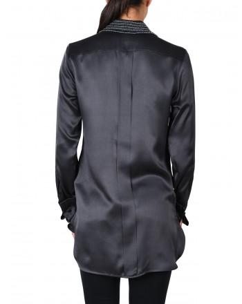 MAX MARA - BASILEA shirt in silk satin - Anthracite