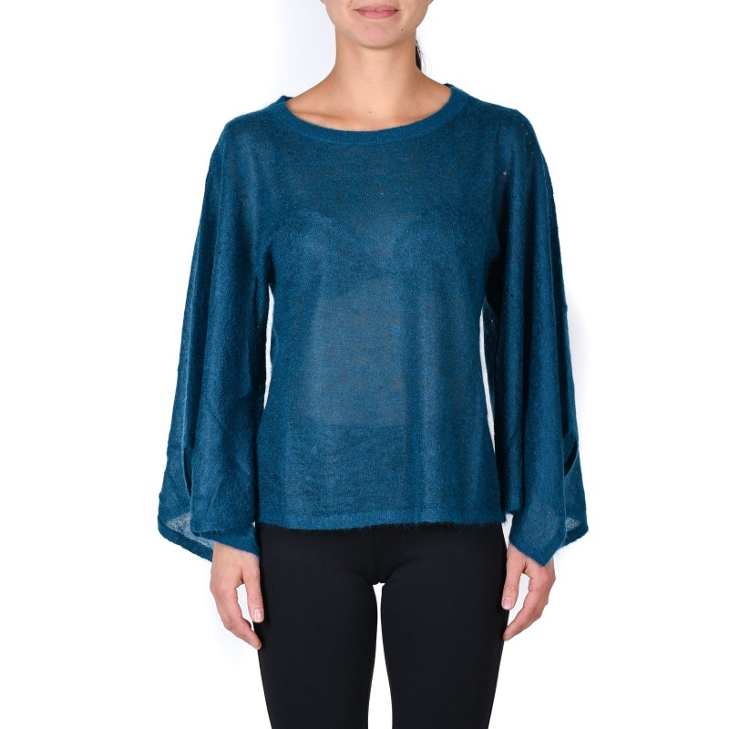 MICHAEL DI MICHAEL KORS -  Wide Sleeves Wool Knit  - Blue