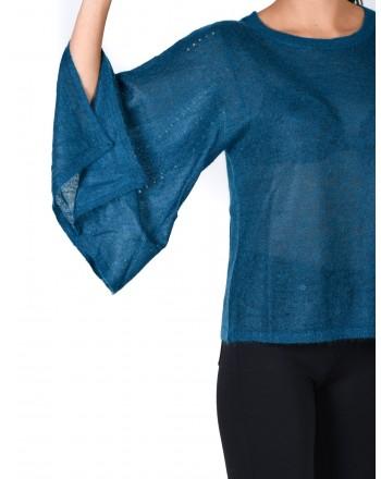 MICHAEL DI MICHAEL KORS -  Wide Sleeves Wool Knit  - Blue