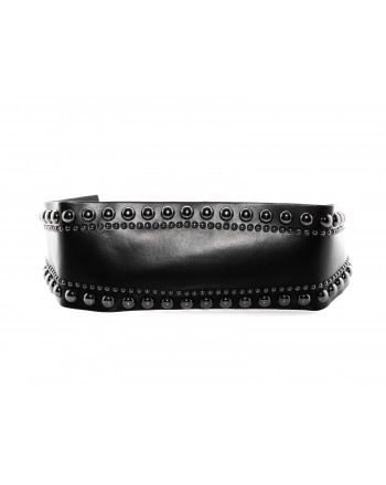 PINKO - Leather belt with studs- Black
