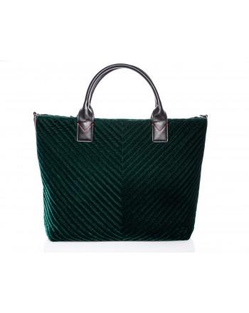PINKO - CHEVRON Maxi Shopping Bag in Velvet - Green