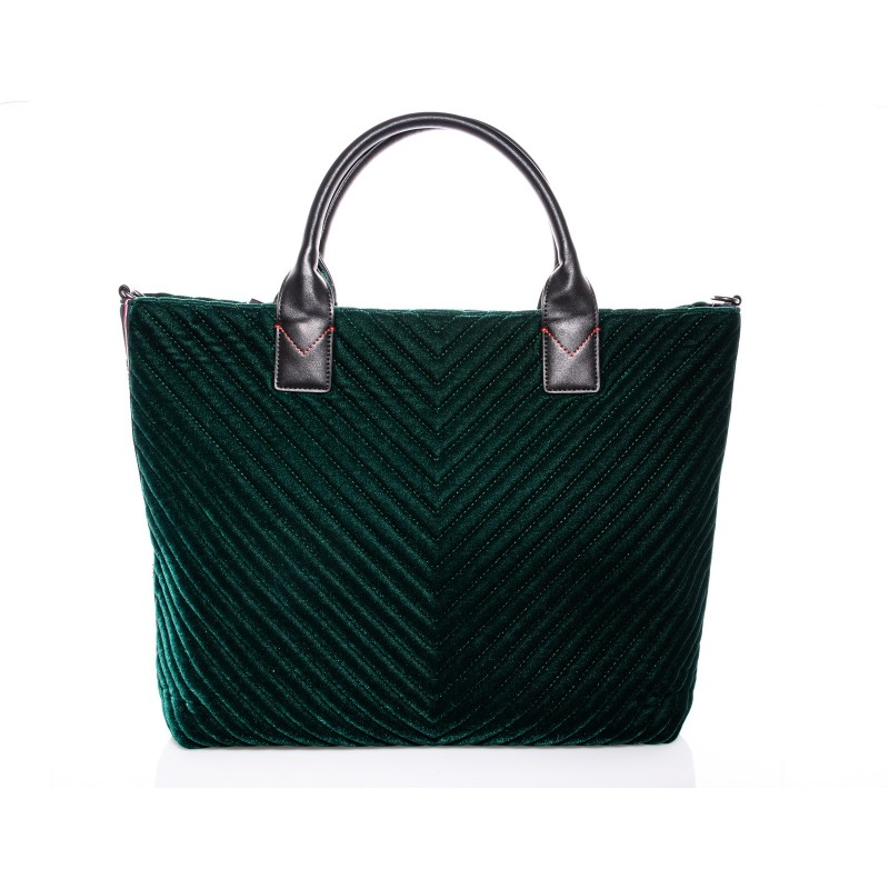 PINKO - Maxi Shopping Bag CHEVRON in velluto - Verde