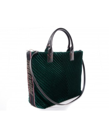 PINKO - Maxi Shopping Bag CHEVRON in velluto - Verde