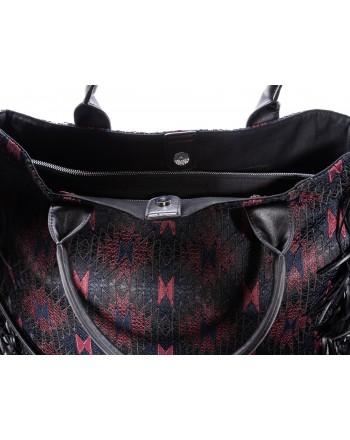 PINKO - MONTEA shopping bag with fringes - Blue/Burgundy