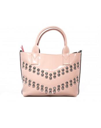 PINKO -  PRESANELLA Patent leather  bag with studs - Pink