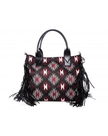 PINKO - Meru Shopping bag with fringes - Black/Pink