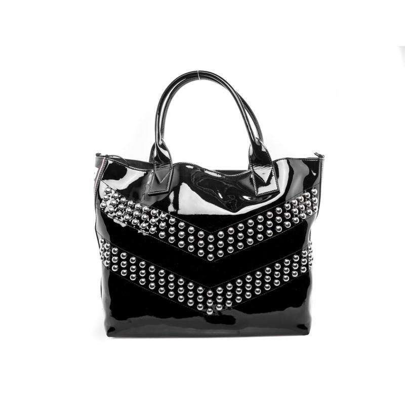 PINKO -  SINAI shopping bag in patent leather - Black