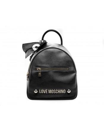 LOVE MOSCHINO - Zaino in ecopelle con tasca frontale e Logo - Nero