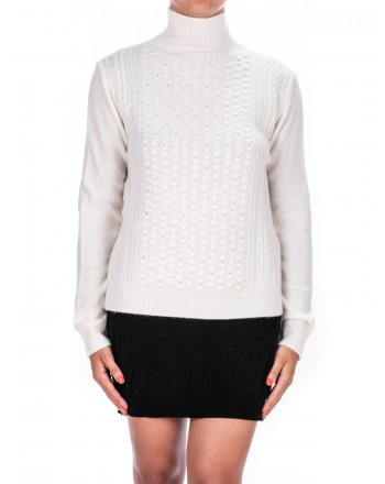 MAX MARA - Wool and Cashmere Knit with Rhinestones PANCIA - Milk