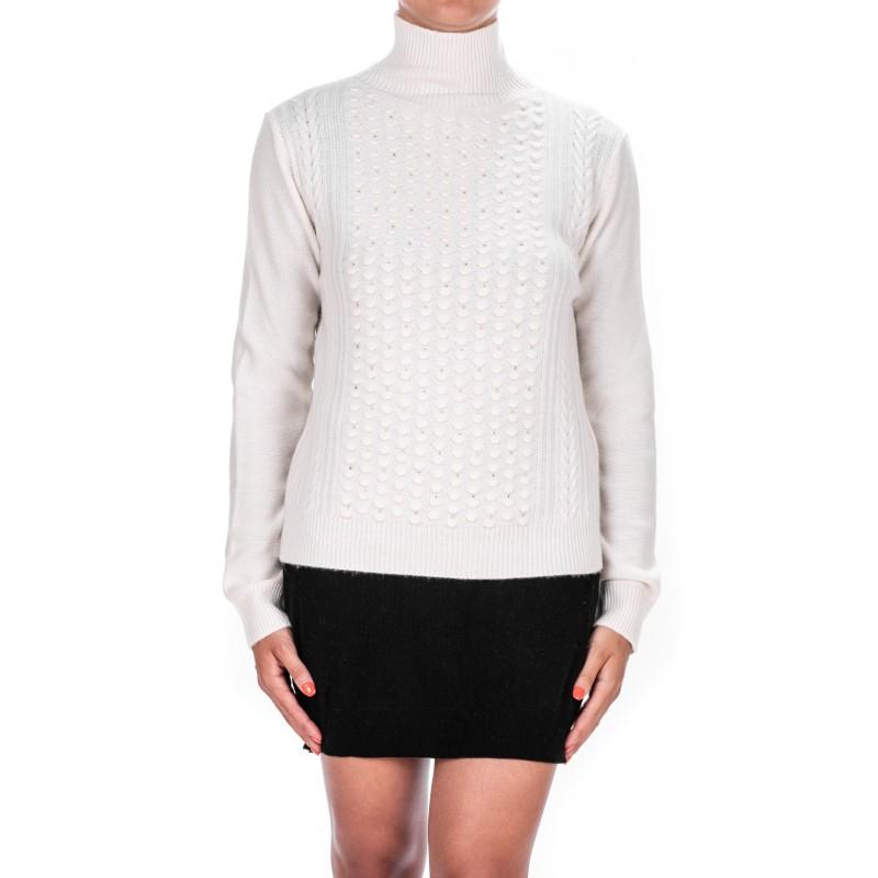 MAX MARA - Wool and Cashmere Knit with Rhinestones PANCIA - Milk