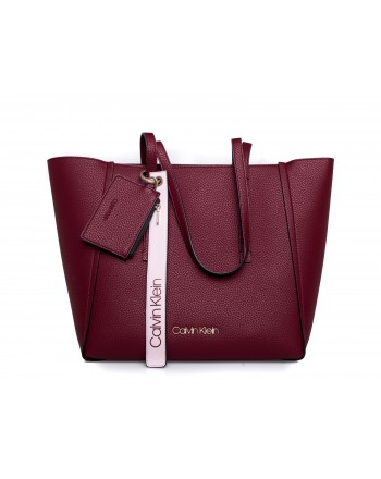 CALVIN KLEIN - Borsa Shopping FRAME LARGE - Red Rock