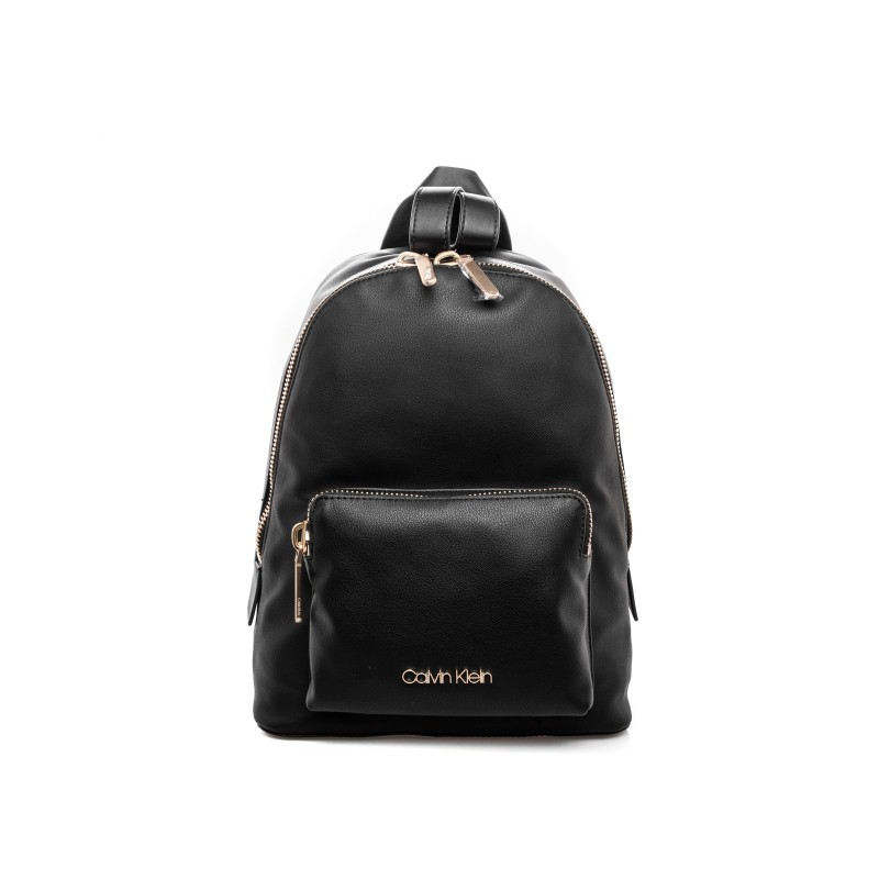 CALVIN KLEIN - Zaino Pocket in pelle - Nero