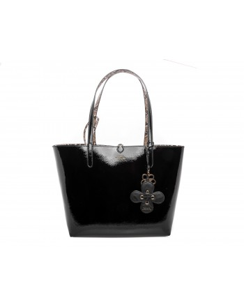 POLO RALPH LAUREN -  Borsa TOTE Sopping reversibile in vernice - Nero