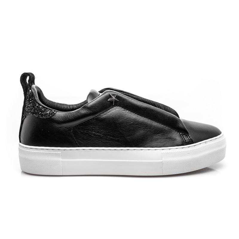LES COPAINS - Sneakers in pelle slip-on - Nero