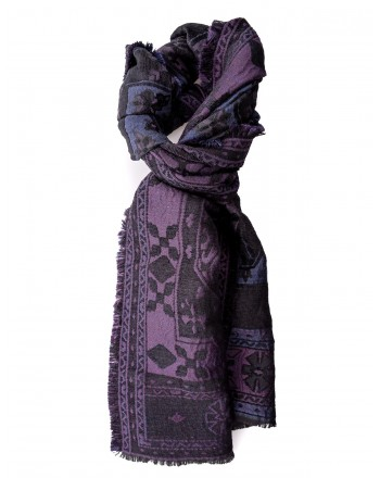 ETRO -  Silk Mixed Rug Scarf  - Black/Purple