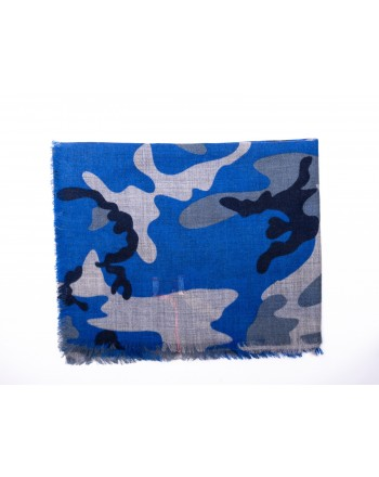 CAMERUCCI - ORTENSIA Camouflage scarf wool - Light blue