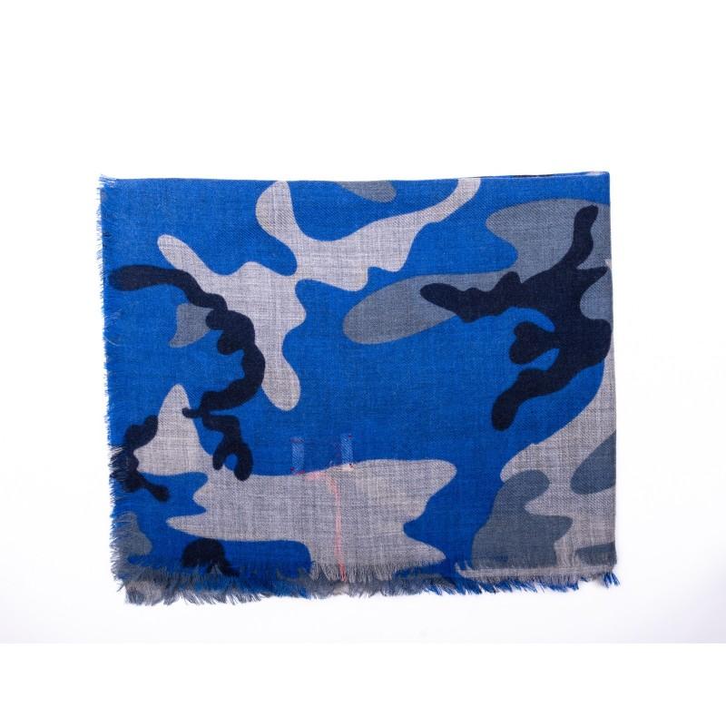 CAMERUCCI - Stola ORTENSIA Camouflage in pura Lana - Azzurro