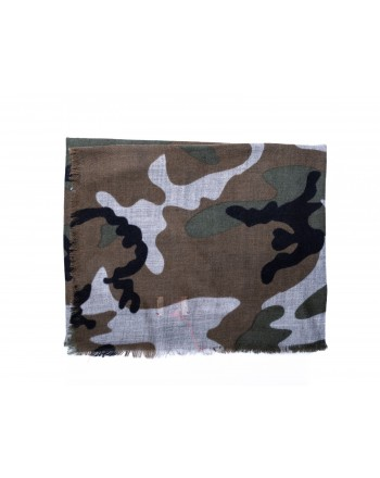 CAMERUCCI - ORTENSIA Camouflage scrf wool - Military green
