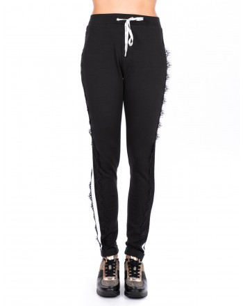 LIU-JO - CAROLINA  trousers with lace - Black/White