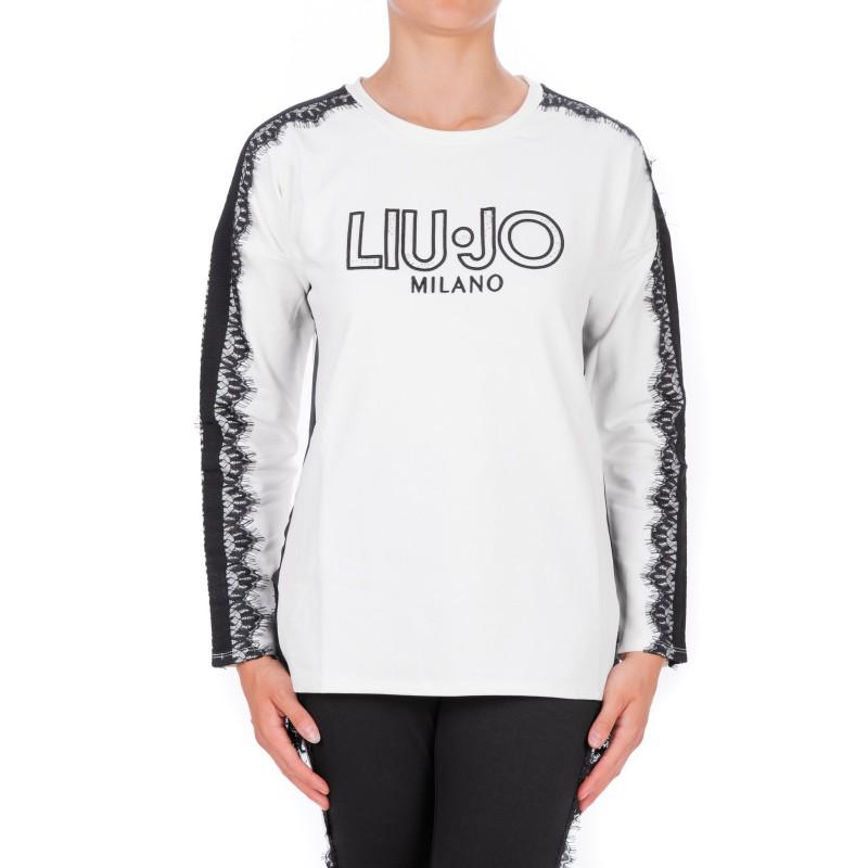 LIU-JO - CAROLINA Sweatshirt with Lace - White/Black