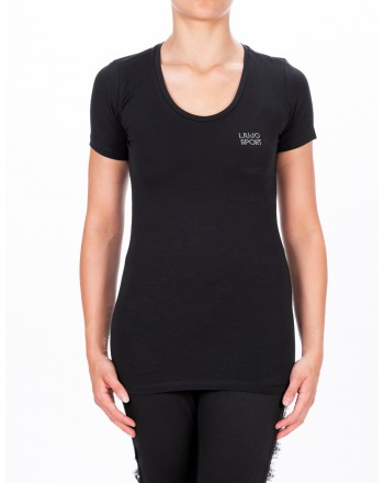 LIU-JO - BASIC Cotton T-Shirt - Black