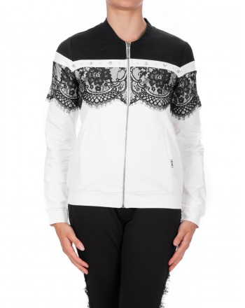 LIU-JO - CAROLINA Sweatshirt with zipper - Black/White
