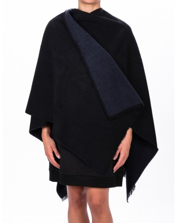 EMPORIO ARMANI - Cashmere and Wool Cape - Black/Blue