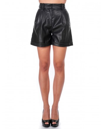 PINKO - Shorts CROCIATA in eco-pelle - Nero