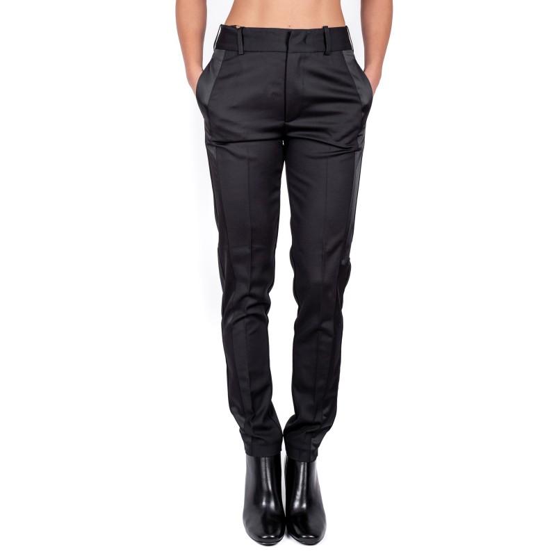 PINKO - Wool Trousers with Satin Detail EMILIO - Black