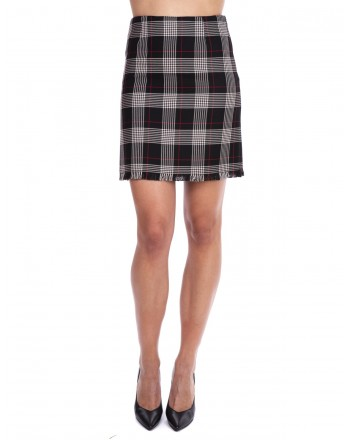 PINKO - Skirt Scotland with fringes - Black/Red/White