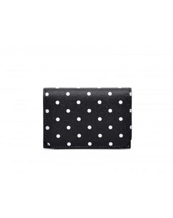 GALLO - Polka Dots Credit Card Holder- Black/Milk