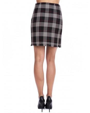 PINKO - Skirt Scotland with fringes - Black/Red/White