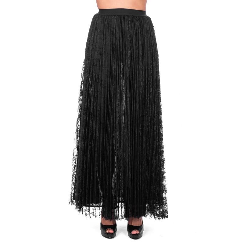 PINKO - ESTETISTA Long lace Skirt - Black