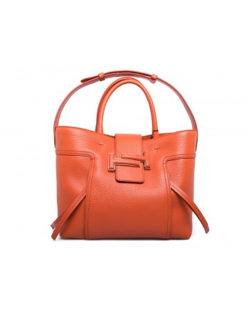 TOD'S - Leather Shopping Bag with double T - Orange