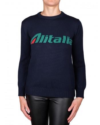 ALBERTA FERRETTI - Pullover ALITALIA in lana - Blu