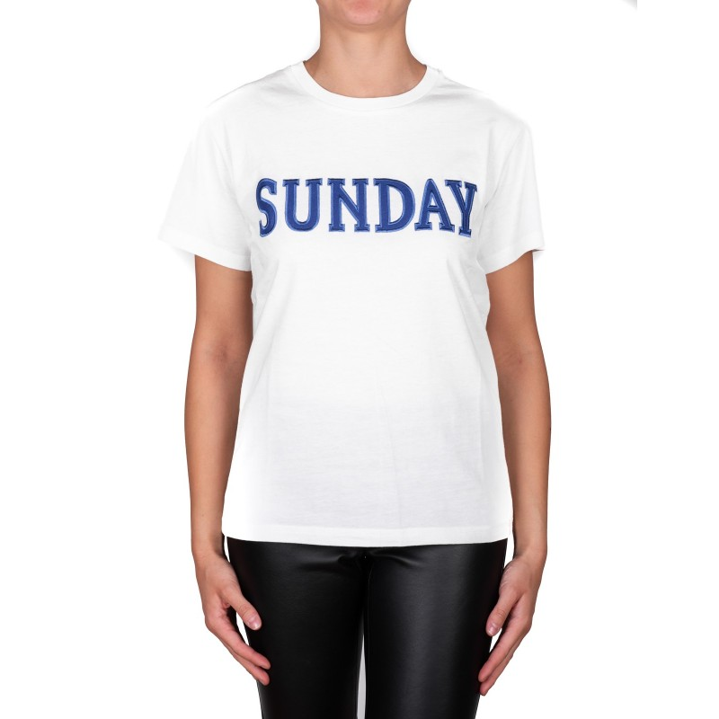 ALBERTA FERRETTI -  Cotton jersey T-shirt with SUNDAY logo - White