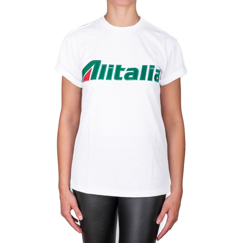 ALBERTA FERRETTI -  Cotton jersey T-shirt with ALITALIA logo - White