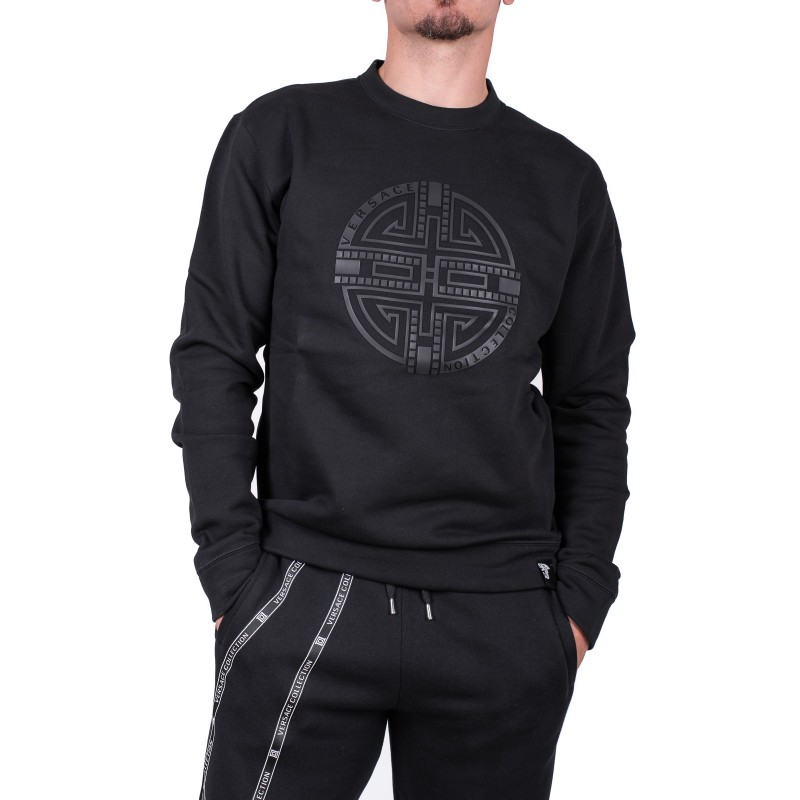 VERSACE COLLECTION - Hologram printed Cotton Fleece - Black