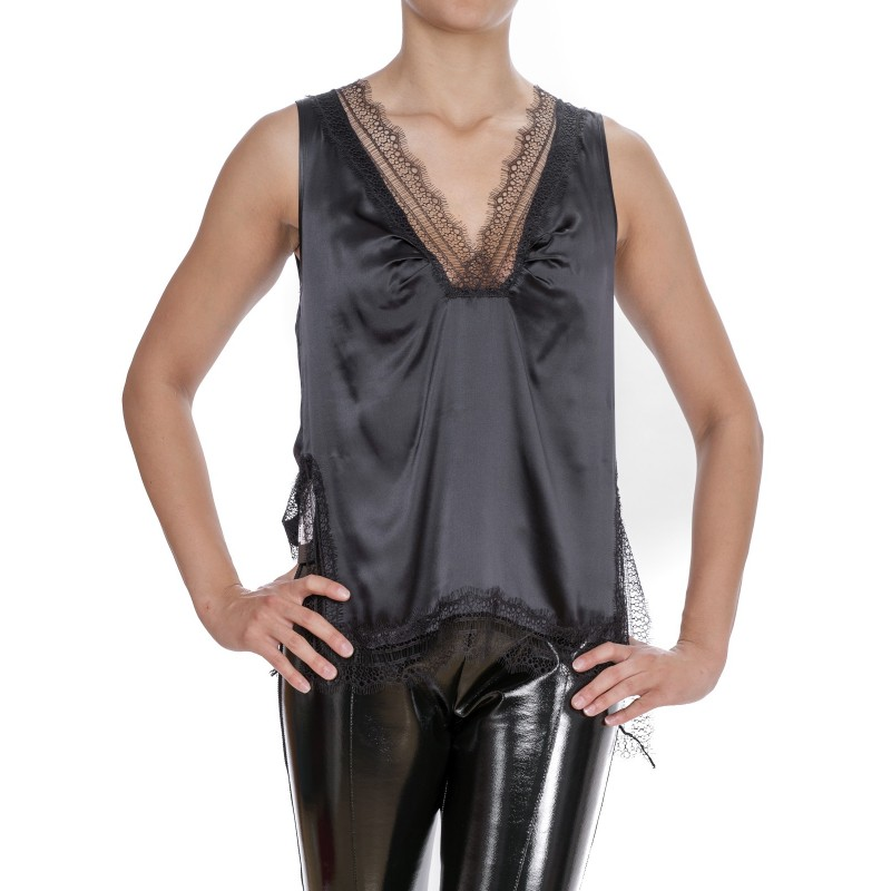 PINKO - Silk Top with Lace - Black