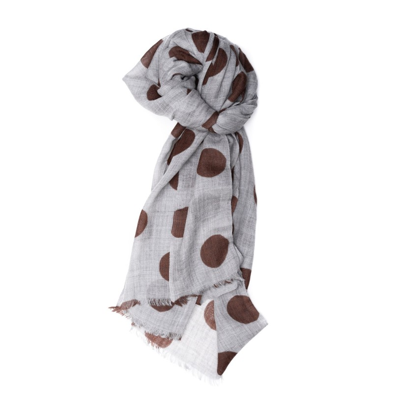 CAMERUCCI - Stole Ortensia with polka dots - Grey/Brown