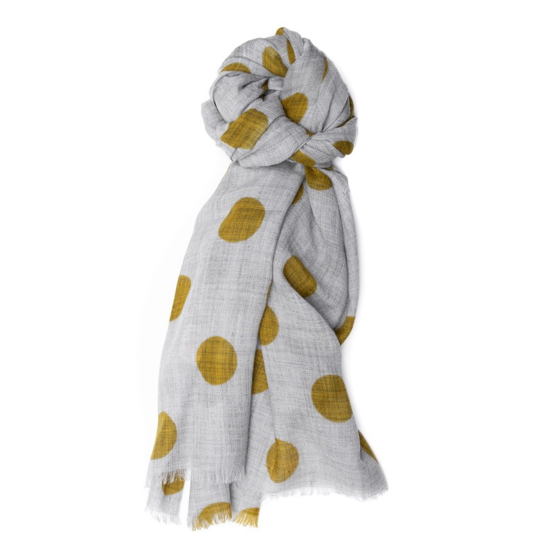 CAMERUCCI - Stole Ortensia with polka dots - Grey/Mustard