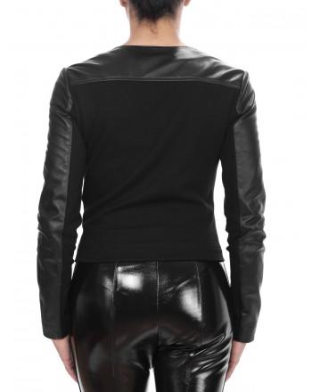 PINKO - IRRORATRICE Leather Biker Jacket  - Black