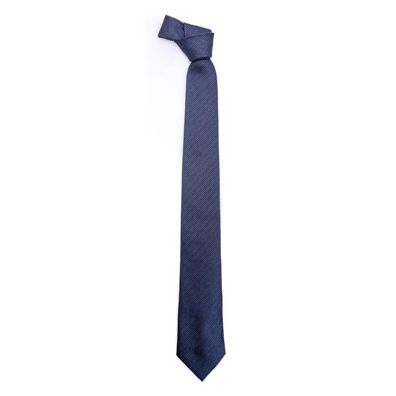 EMPORIO ARMANI - Micropatterned Silk Tie  - Blue