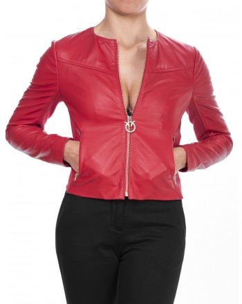 PINKO - Giacca Biker IRRORATRICE in pelle - Rosso