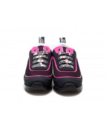 LOVE MOSCHINO - Sneakers in tessuto tecnico con lacci logati - Nero/Rosa